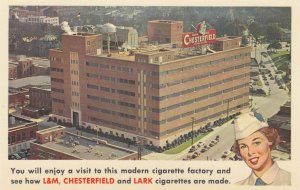 DURHAM , North Carolinja , 50-60s ; L&M , CHESTERFIELD & LARK Cigarette factory!