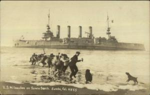 Eurka CA Naval Ship Milwaukee Ashore Samoa Beach c1920 Real Photo Postcard