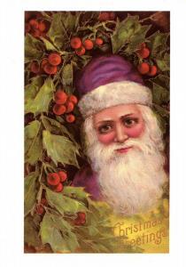 Greeting - Christmas, Santa Claus in Purple Suit (Repro)