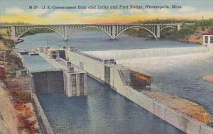 Minnesota Minneapolis U S Government Dam And Locks And Ford Bridge