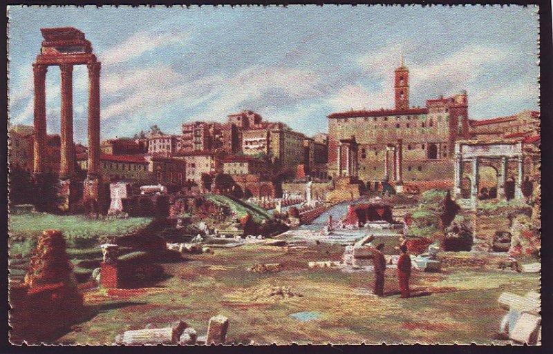 P1505 vintage art colorful unused roma - foro romano view rome italy