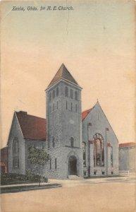 F40/ Xenia Ohio Postcard 1911 1st M.E. Church Building