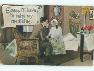 Pre-Linen Comic MAN GETS MEDICINE TO WOMAN AB9357
