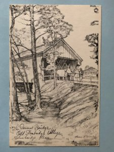 pencil drawing of Dummerston, VT covered bridge