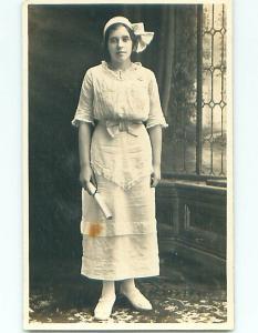 Pre-1918 rppc SUFFRAGE INTEREST - PRETTY GIRL HOLDING GRADUATION DIPLOMA r5842