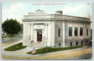Marinette Wisconsin~Isaac Stephenson Library~Neo Classical~Girls~Flags~c1910
