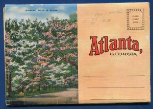 Atlanta Georgia ga dogwood trees Grant Park postcard folder 1930s