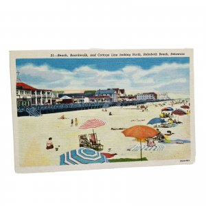 Rehoboth Beach Delaware Beach Boardwalk & Cottages Linen Vintage Postcard