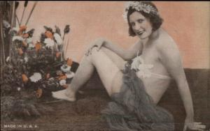 Semi-Nude Sexy Showgirl Pin-Up Exhibit Mutoscope Card - Flowers in Hair