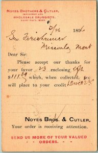 1896 St. Paul, MN Business Postcard NOYES BROTHER & CUTLER Wholesale Druggists