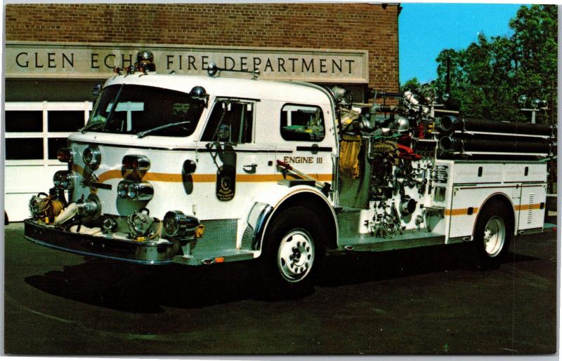 1970 American LaFrance Pumper, Glen Echo Fire Department, MD Postcard G12