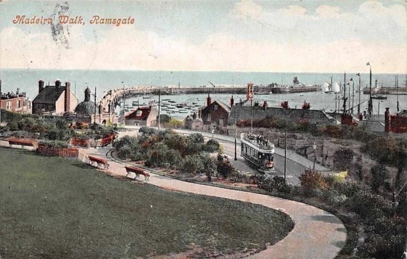Kent, Ramsgate, Madeira Walk, tramway tram, pier, port, harbour, boats 1906