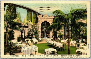 Beverly Hills, CA Linen Postcard VICTOR HUGO RESTAURANT The Garden 1940 Cancel
