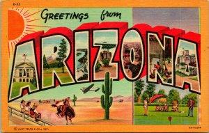 Vtg Leinen Postkarte Groß Buchstabe Grüße Arizona Unbenutzt Curt Neben
