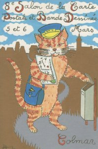 1988 French Cat As Postman France Post Exhibition Ltd Postcard