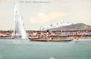 Switzerland Old Vintage Antique Post Card Geneve Rade et Mont Blanc Unused