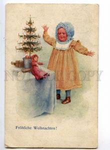 240190 X-MAS Christmas Tree DOLL & Little Girl Vintage PC