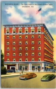 Salisbury, Maryland Postcard WICOMICO HOTEL Downtown Street Scene Linen 1940s