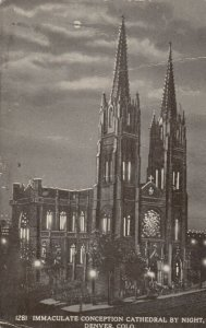 DENVER, Colorado, PU-1913; Immaculate Conception Cathedral by Night