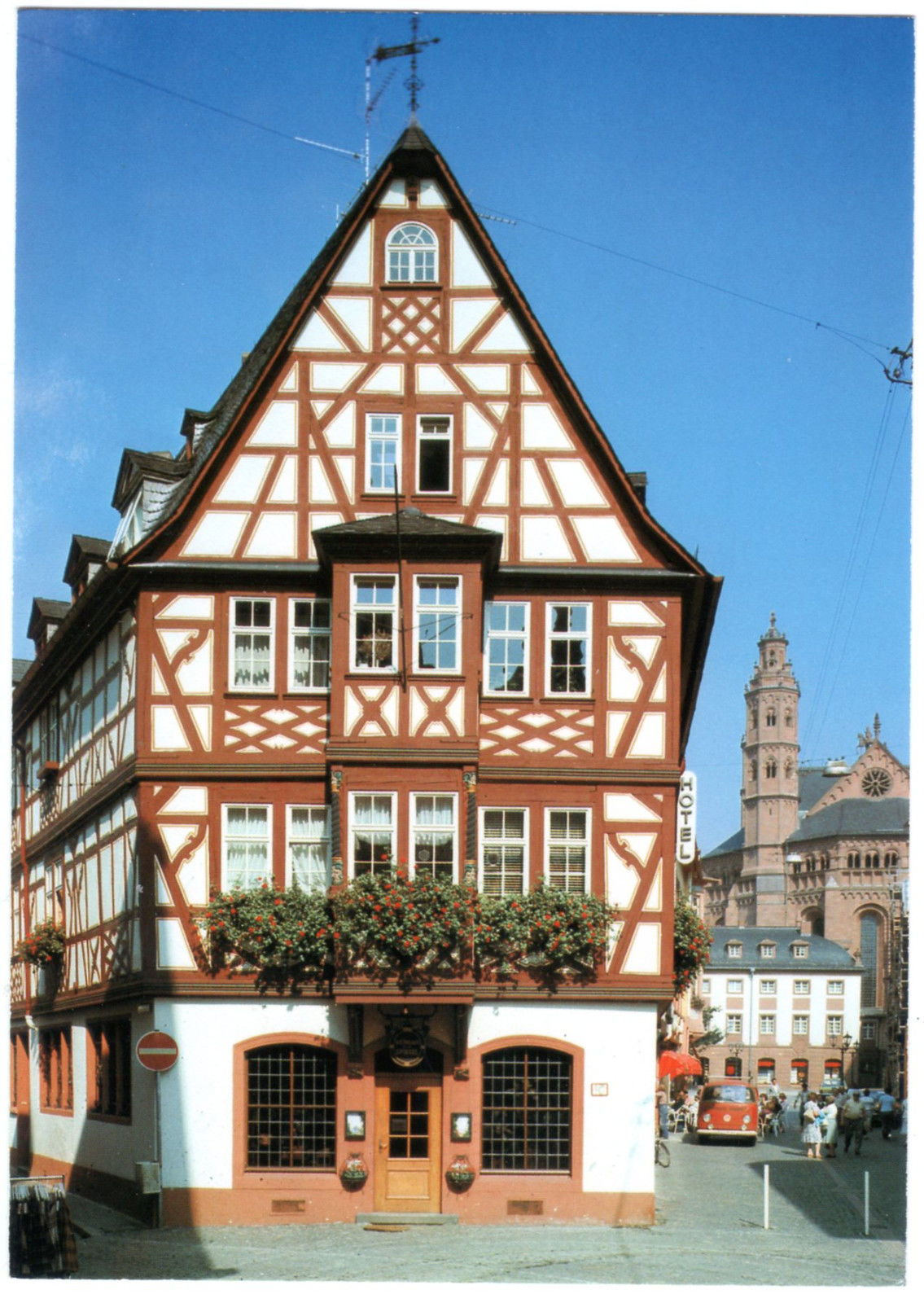mainz am rhein haus zum grossen spiegel german postcard hippostcard. Black Bedroom Furniture Sets. Home Design Ideas