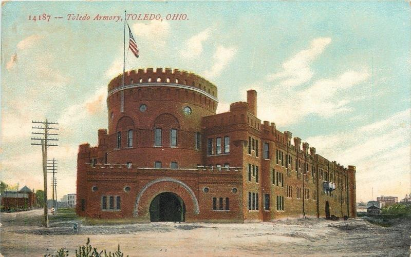 Toledo OH~National Armory~U S Flag Flying Proud~Crenellated Tower~1910 Postcard