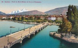 GENEVE, Switzerland, 1900-10s; Pont du Mont-Blanc et Ile J.-J. Rousseau