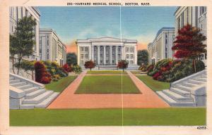 Harvard Medical School, Boston, Mass., Early Linen Postcard, used in 1939