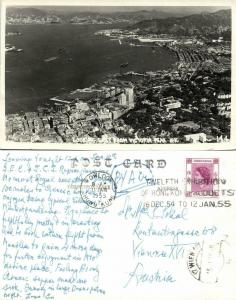 china, HONG KONG, Looking East from Victoria Peak (1955) RPPC Postcard