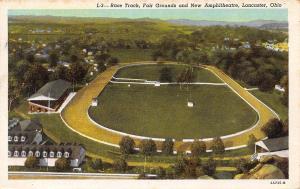 Lancaster Ohio~Fair Grounds Race Track~Grand Stands~1949 Linen Postcard