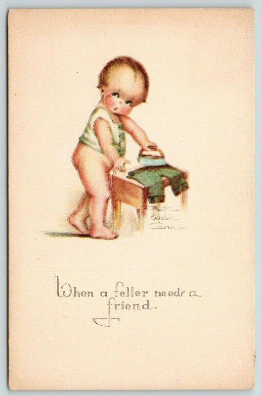Ruth Welch Siver~Little Boy Irons Pants~When A Feller Needs a Friend~c1914 PC