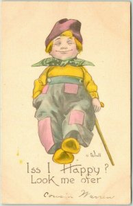 Artist-Signed WALL Postcard Dutch Boy Iss I Happy? Look Me Ofer Hand-Colored