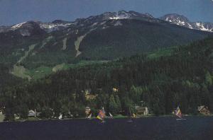Windsurfing on Alta Lake,  Blackcomb Mountain, Whistler,  B.C., Canada,   50-70s