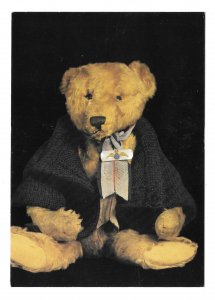 Bruin Dressed Stuffed Teddy Bear Toy Doll Vntg 1986 Caroline Irwin 4X6 Postcard