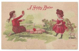 Vintage Easter Postcard Girls w Eggs and Pull Toy Lithograph