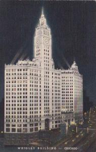 Illinois Chicago Wrigley Building At Night Curteich
