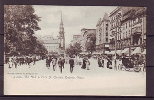P1459 old unused postcard many people mall & park st. church, boston  mass