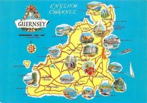 English Channel Guernsey Map, Forest, Castel, Vale St. Andrew St. Martin