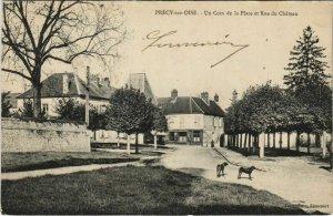 CPA PRECY-sur-OISE Un Coin de la Place et Rue du Chateau (131134)