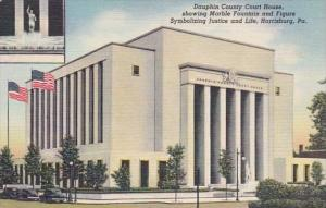 Pennsylvania Harrisburg Dauphin County Court House 1959 Curteich