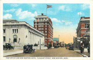 New Bedford MA~Post Office and New Bedford Hotel~Auto Supply Store~1920 Postcard