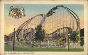 Crystal Beach ON Cyclone Roller Coaster c1940 Postcard