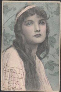 M.M.VIENNE : Closeup Female Head Portrait #4 , 1903