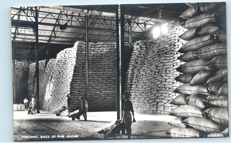 *Sugar Mill Factory Workers Stacking Bags Raw Sugar Fiji Vintage Postcard C51