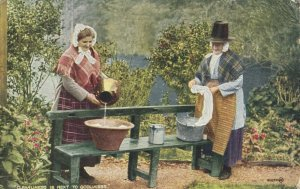2 women washing clothes , WALES , 1910-30s