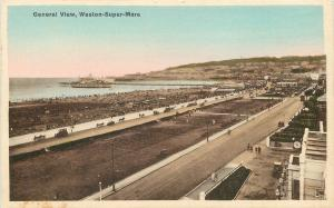 Somerset England~Weston Sure-Mare~Gas Petrol Station~Beach~Pier~1915 Postcard