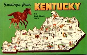 Map Of Kentucky With Greetings From The Blue Grass State
