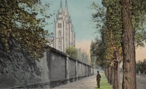 SALT LAKE CITY, Utah, 1900-10s; A Long Temple Wall