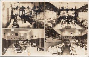 Elite Cafe Banff Alberta Multiview Unused Byron Harmon Real Photo Postcard G1