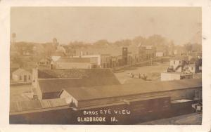 Gladbrook IA Chicago & Northwestern Railroad Depot~Horse-Double Wagon~RPPC 1910