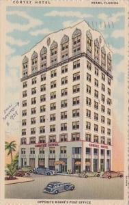 Florida Miami Cortez Hotel Opposite Miamis Post Office  1955
